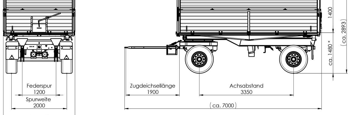 Zweiachs-Dreiseitenkipper ZDK 1802 800/600