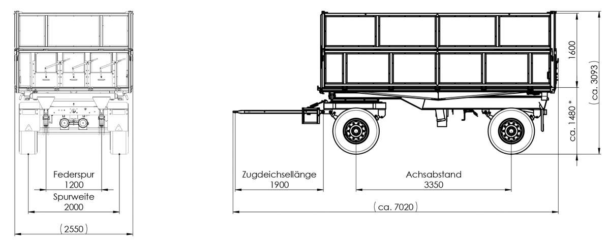 Zweiachs-Dreiseitenkipper ZDK 1802 Kartoffelanhänger  800/800